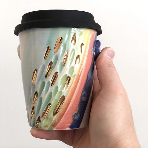 Rainbow Gold Ceramic Travel Cups