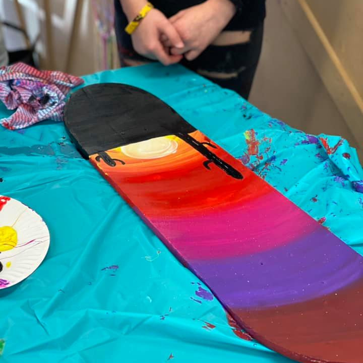 SPRINGFIELD - Learn to paint class - Kids/Teens Sip and Paint a cactus skate deck