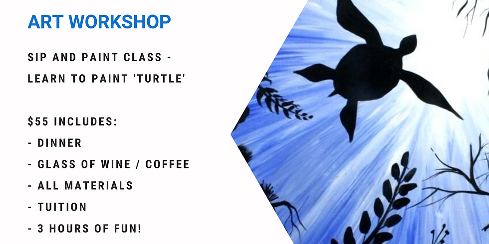 Grab a glass of wine and learn to paint 'Turtle'