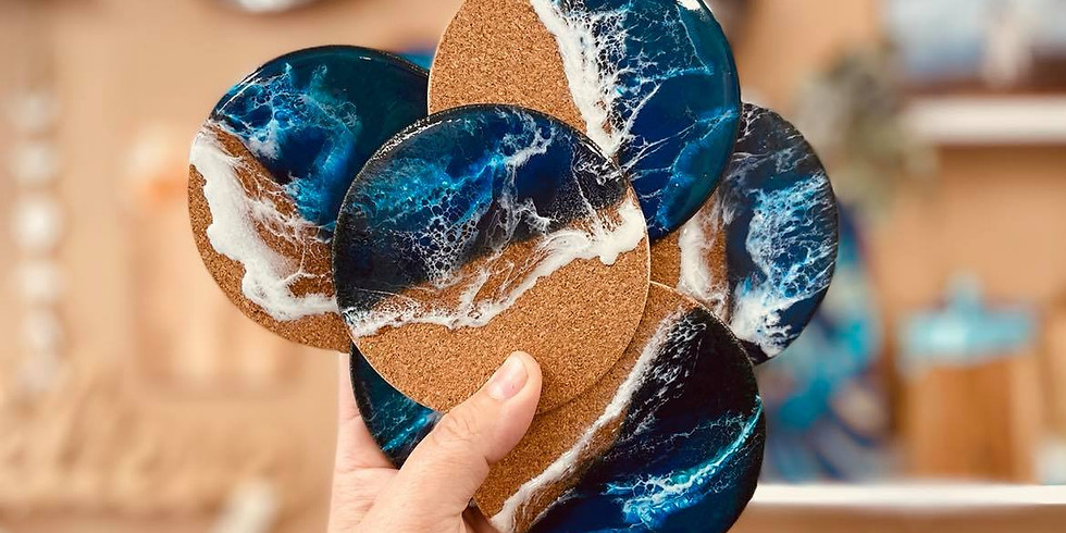 GOODNA - STUDIO - Make your own resin covered coasters x 6