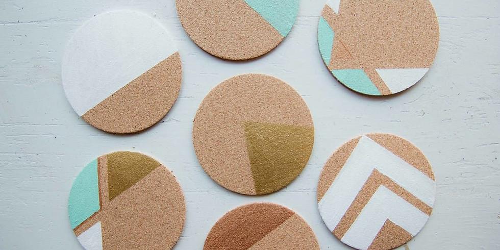 School Holidays - Geometric cork coaster painting class