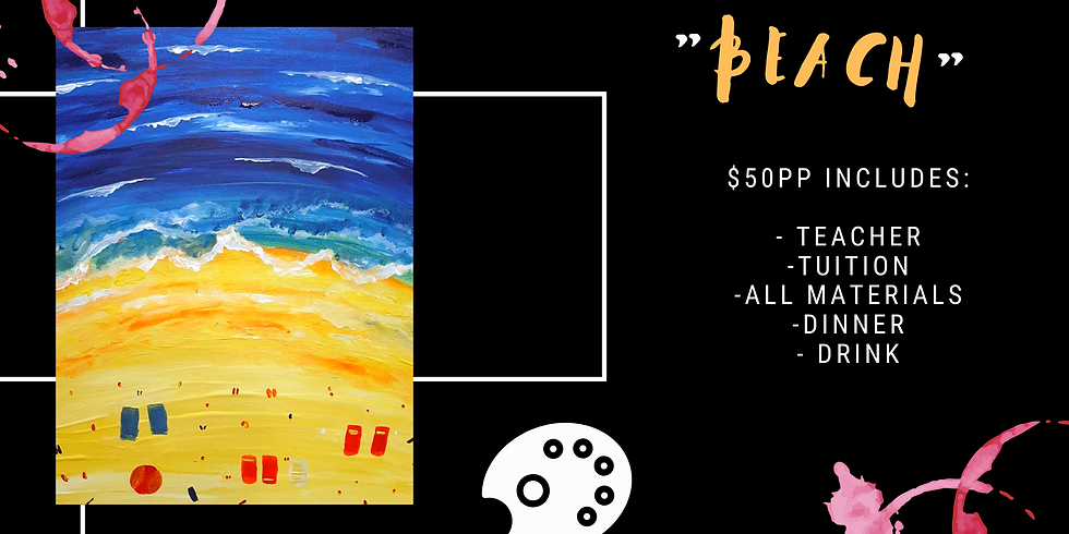Grab a glass of wine and learn to paint 'Beach'
