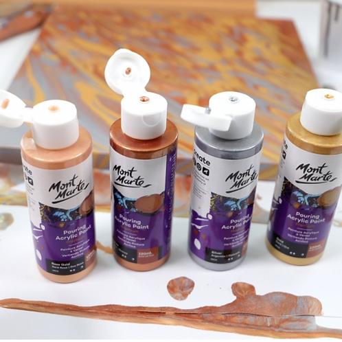 DIY 4 x Canvas Complete Paint Pour Kit - Metallic