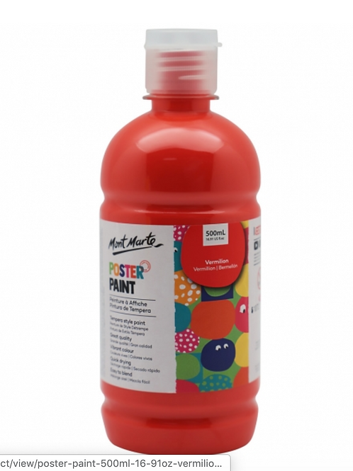 Poster Paint 500ml - Vermilion
