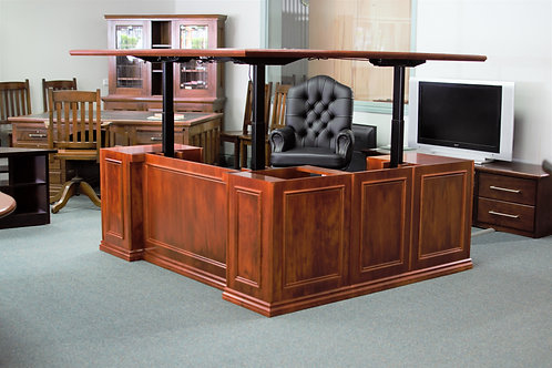 Victorian Style Twin Pedestal Elevating Desk and Return