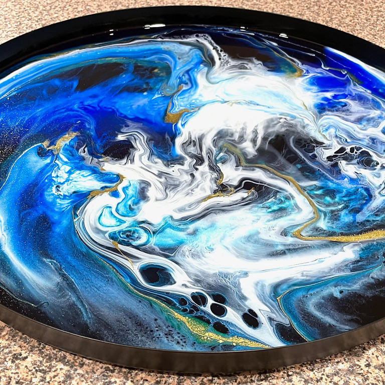 STUDIO - Learn to pour the styled resin side table pictured (colours and style)