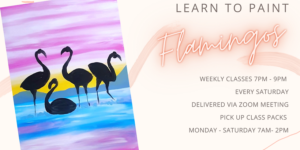 """ONLINE - Sip 'n' Paint """"Learn to paint Flamingos'"""