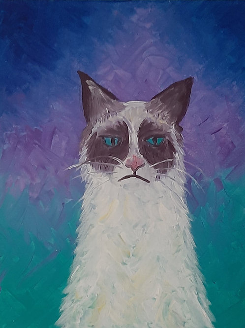 Learn to paint 'Grumpy Cat' - Tutorial Only