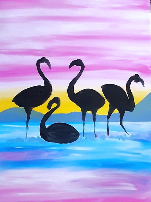 Learn to Paint Flamingo 'Paint at home Pack'