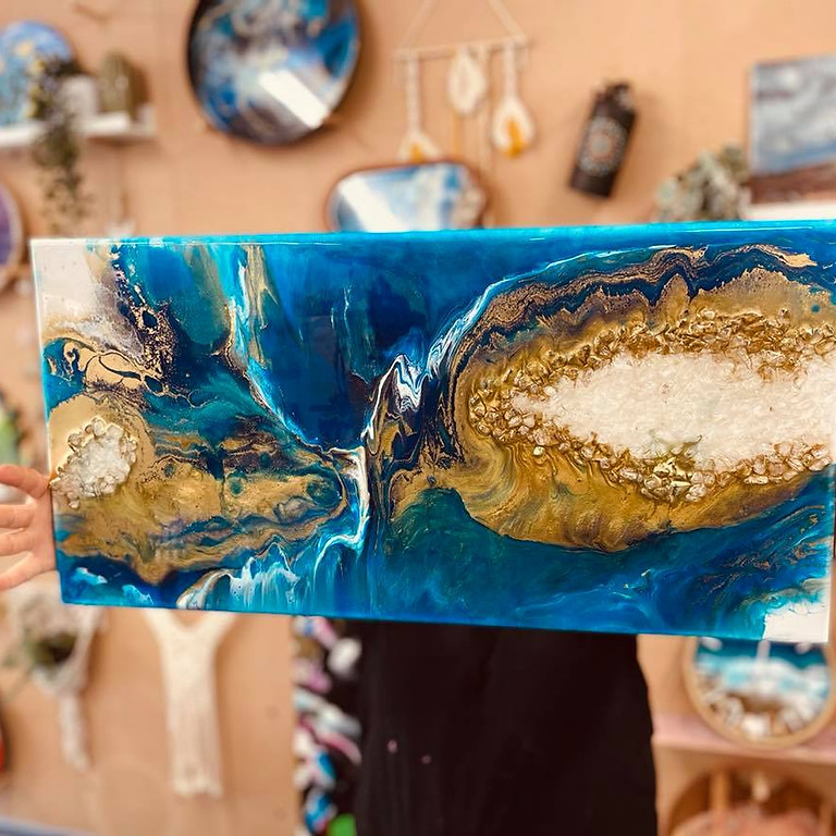 POSTPONED - STUDIO - Resin Master Class - Agate styled canvas pour