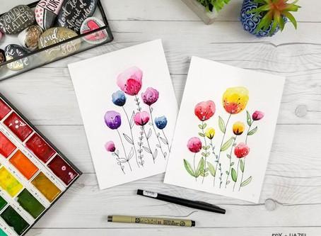 Easy watercolour flowers