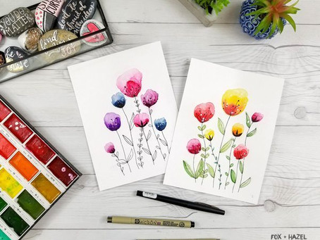 Easy watercolour flowers