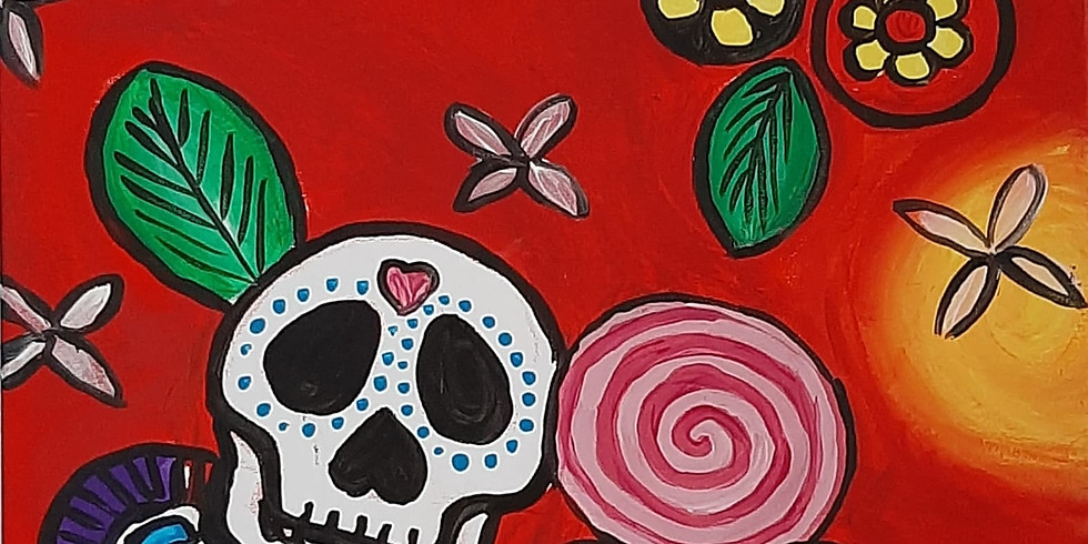 Grab a glass of wine and learn to paint 'Candy Skulls'