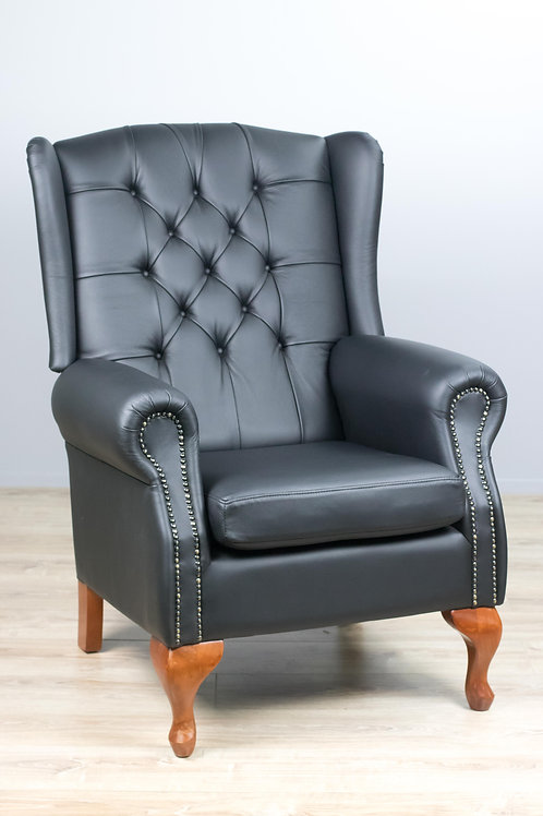 Wing Back Leather Lounge Chair