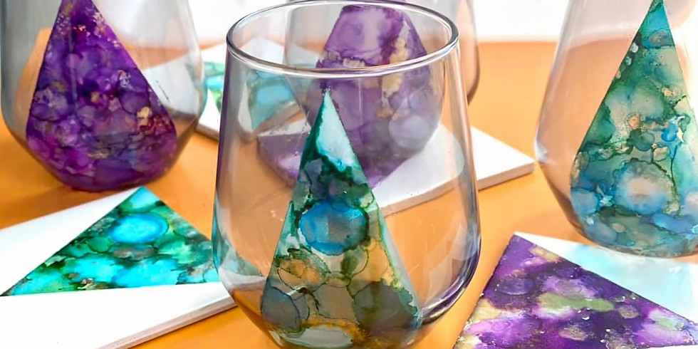 SPRINGFIELD - 4 tile coasters & 4 stemless wine glasses (alcohol ink)