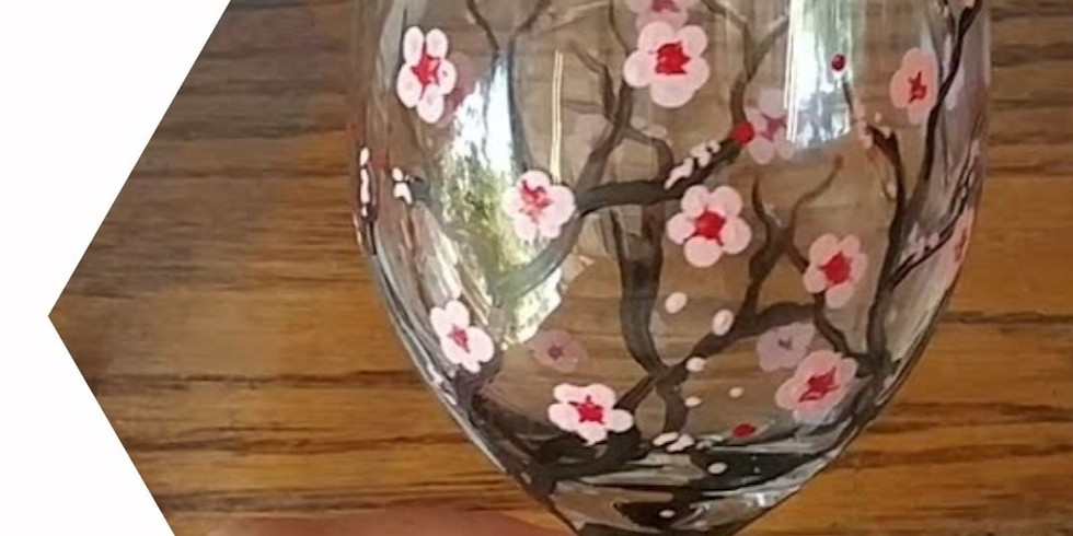 Moselles - Learn to paint 2 cherry blossom wine glasses