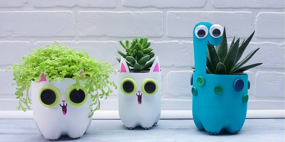School Holidays Kids Crafts - Recycled Planters