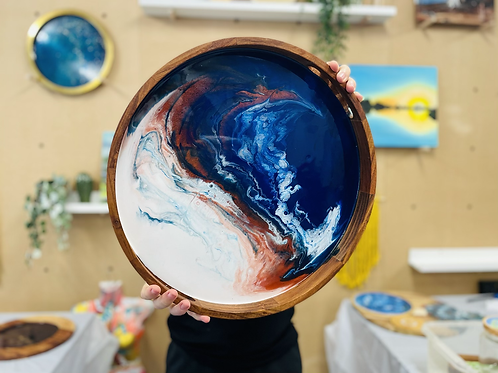 Wooden resin tray