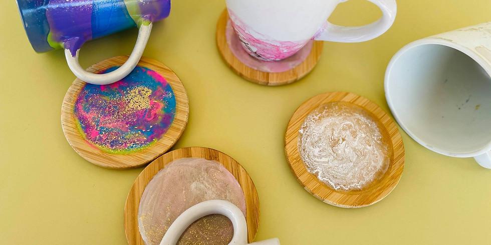 SIP 'N' DIP - Make alcohol ink mugs and matching resin coaster/lid sets