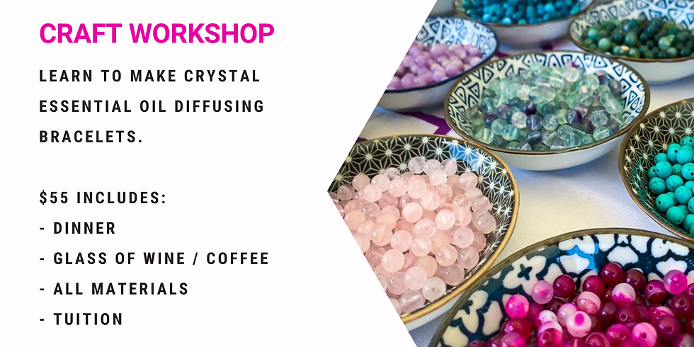 Grab a glass of wine and learn to make crystal and lava bead diffuser bracelets!