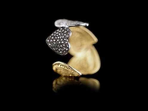 Anel Ouro Diamantes Negros