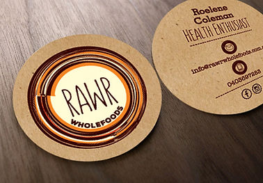 RAWR Wholefoods Business Cards