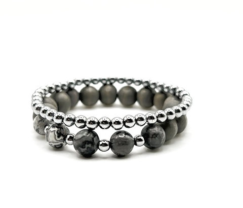Grey Wood Stack Bracelet Sets | Silver