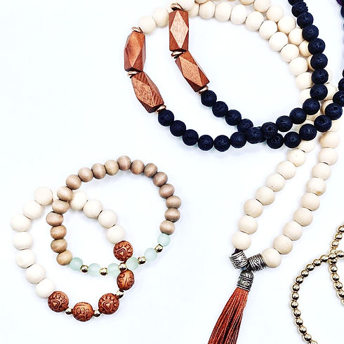 Beaded and wood jewelry styles