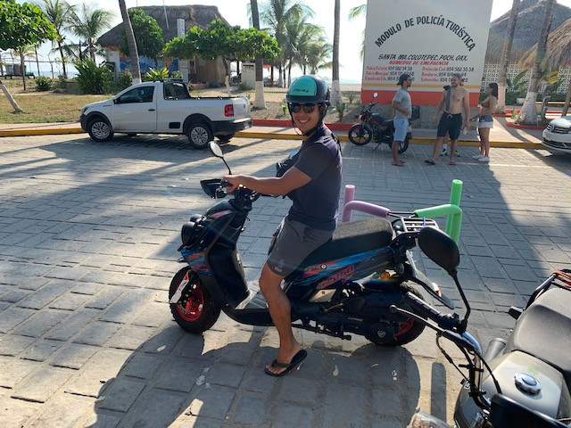 Renting a scooter for transportation in Puerto Escondido