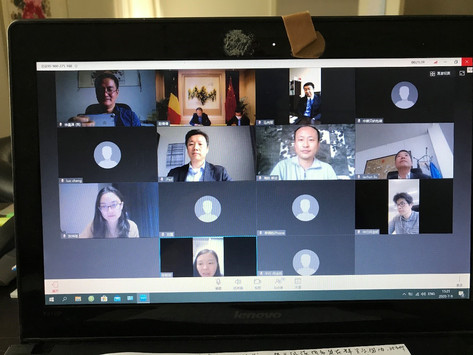 驻比利时大使曹忠明与部分中企协会员进行视频交流