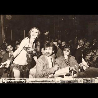 Nightlife & Belly Dancers / 1980s Stavros and Theodora with Belly Dancer, Kervansaray, Harbiye