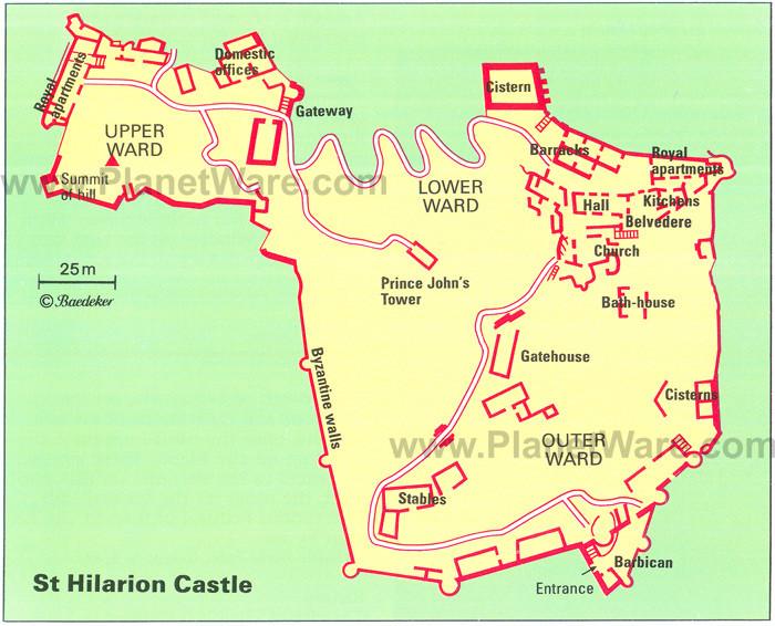 St Hilarion Castle Map Cyprus 2mi3