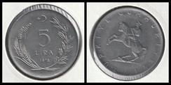 5 Lira large type; crescent to left
