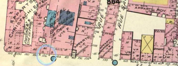 1909 - Nakamura Shoten Mağazası (Çiçek Pasajı'nın hemen girişi) / Goad Haritaları 1905