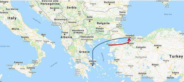 Map, Imbros, Samothrake, Istanbul, Athens,Koulurgioti