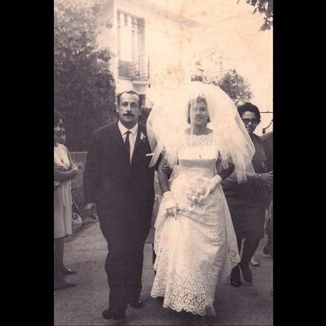1960s Alexandra Koskeri with her Father - Armenian/Greek Wedding
