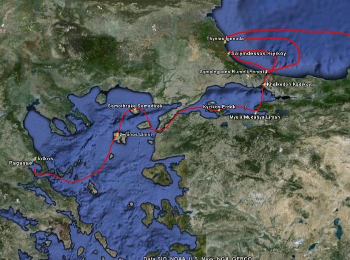 ROTA 1: Iolkos-Thynias arası güzergah