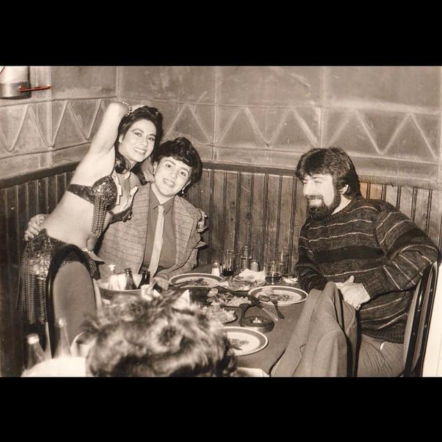 Nightlife & Belly Dancers / 1980s Stavros and Theodora with Belly Dancer, Yeniçeri Restaurant, Yeniköy