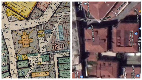 Bible House (Kutsal Kitap Evi) Constantinople, Pervititch Haritaları ve Google Maps üzerinde gösterim