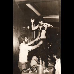 Nightlife & Belly Dancers / 1980s Stavros and his friend with Belly Dancer, Azderoglu Restaurant Arnavutköy
