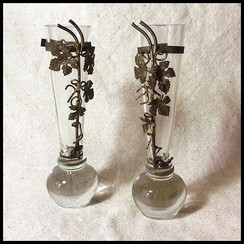 1920s Small Glass Vases with Silver Grape Leaves of Ashen