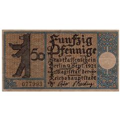 Berlin, 50 Pfennig, 1921_Back