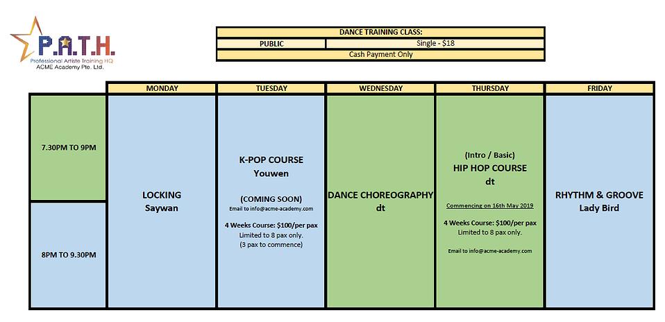 ACME Academy Schedule