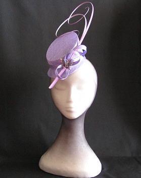 lavender fascinator butterfly detail