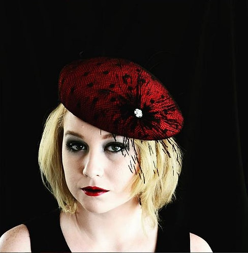 red felt beret ith feather diamonte detail de lew