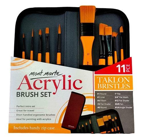 Mont Marte Signature Paint Brush Set - Acrylic Taklon Bristle In Wallet 11pc