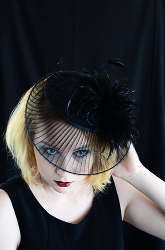 black felt crinolin brim feather mount de lew