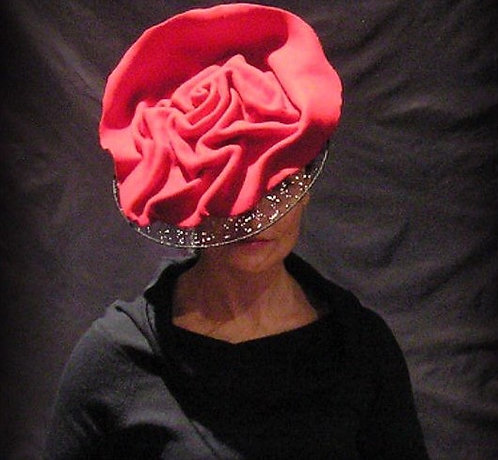 hand moulded red felt wire brim swarovski crystal de lew