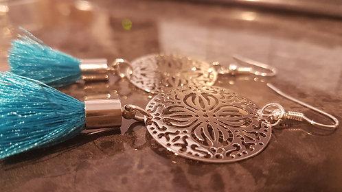 Filigree Turquoise tassel earrings. Accessories Millinery supplies fascinator crown spring racing carnival