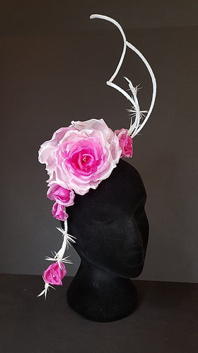 Graduated pink 100% silk rose fascinator spring carnival millinery australia